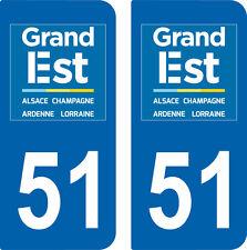 2 autocollants style immatriculation auto Département Grand-EST MARNE 51
