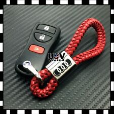 Red Leather Alloy Metal Keychain Audi Logo Emblem Gift Decoration Accessories