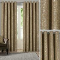 Gold Eyelet Curtains Metallic Jacquard Ready Made Lined Ring Top Curtain Pairs