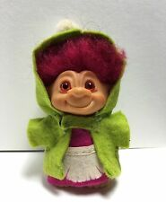"Vtg Dam Wishnik Troll Doll 2.5-3"" Tall Magenta Hair Amber Spiral Eyes Green Hood"