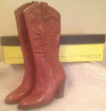 NIB VERY VOLATILE Rosewell Cognac Western LEATHER Boots Womens size 6 M
