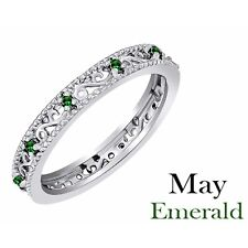 Round Green Emerald Stackable Ring  14K White Gold Over 925 Sterling Silver