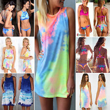 AU Womens Tie Dye Swimsuit Swimming Bikini Sundress Mini Skirt Dress Beachwear