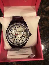 Betsey Johnson Sparkle Analog Bracelet Watch Metallic PURPLE clear Silver Face