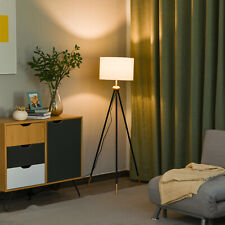 HOMCOM Modern Floor Lamp Standing Lamp E27 Lamp Holder Bedroom Metal Tripod Gold