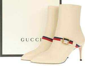 NEW GUCCI IVORY LEATHER WEB HEELS ANKLE BOOTS SHOES 40.5/US 10.5