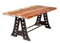 Table de cuisine AMAR salon séjour rectangulaire plateau manguier imprimé pieds