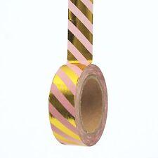 Washi Tape Gold Pink Foil Metallic Candy Stripes 15mm x 10m