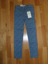 Girls blue print Vertbaudet slim fit trousers, adjustable waist, size 6-7 yrs