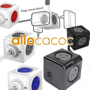 Allocacoc Power Cube Powercube Board with 0-2 USB 2-5 Outlet 0-3M Surge Protect