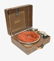 ANTIQUE THORENS MANHATTAN SUITCASE HAND CRANK 78 RPM PHONOGRAPH SWISS