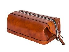 """Bosca Old Leather Zippered 10"""" Toiletry Shave Dopp Kit 577 Amber"""