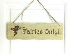 Driftwood Style Personalised Fairy Fairies Childs Den Shed Tree Wendy House Sign