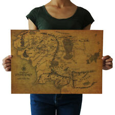 styles Map Of Middle Earth Lord Of The Rings kraft paper retro poster