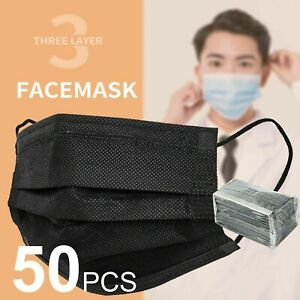 50Pcs Daily Protective Face Mask Mouth Masks Filter 3 Layer Meltblown - Black