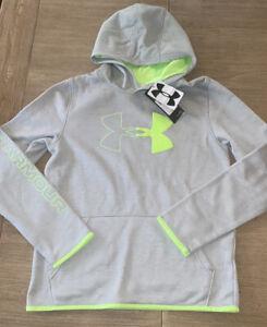 UNDER ARMOUR COLDGEAR Sweatshirt UA Logo GRAY/Yellow Boy's XL-RV $40 NEW NWT