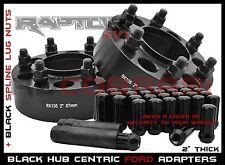 """2 FORD F-150 BLACK 2"""" THICK HUB CENTRIC WHEEL SPACERS + 14x2.0 BLACK SPLINE LUGS"""