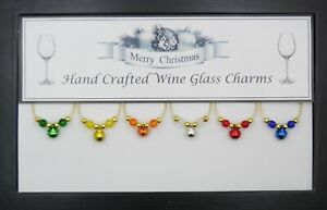 Christmas Bells Wine Glass Charms with Gold Beads Handmade Just for You