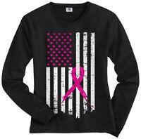 Pink Ribbon Breast Cancer Awareness Flag Women's Long Sleeve T-Shirt