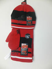 NEW DISNEY BOYS & GIRLS UNISEX 3PC HAT MITTENS  & SCARF SET RED/BLACK 1-2 YR
