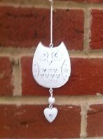 Shabby Chic Small Hanging Cream Metal Owl & Heart Bird Hanger Decoration Gift