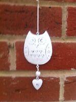 Shabby Chic Small Hanging Cream Metal Owl & Heart Bird Hanger Decoration Gift