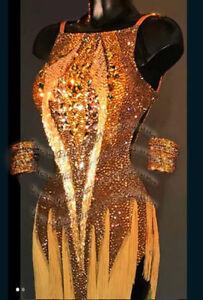 L1532 Beading Ballroom swing Ramba Latin/Rhythm Samba US 8 Dance Dress fringes