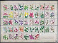 Japan Bogen ** postfrisch, Blumen und Blüten, Zsdrk-Bogen mit 47 Marken a. 0,80