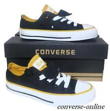 KIDS Boys Girls CONVERSE All Star BLACK DOUBLE TONGUE Trainers Shoes SIZE UK 10