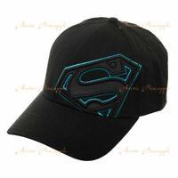 BIOWORLD DC Comics Superman Blue Reflective Logo Outline Stretch Black Hat NWT