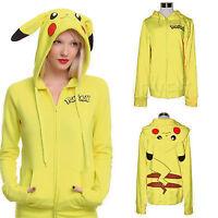 Pokemon Anime Ear Face Tail Zipper Hooded Sweatshirt Top Pikachu Hoodies Cosplay
