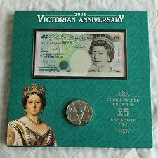 2001 ère victorienne £ 5 billet & crown set-VR10 000498