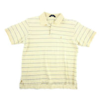 Brooks Brothers Mens Polo Golf Shirt Yellow Blue Striped Short Cotton Size L