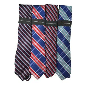 Tommy Hilfiger Mens Lot of 4 Neckties Multicolor Red Blue Plaid Wide Classic New