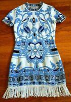 Emilio Pucci Embroidered Fringe Blue & White Sun Dress IT 40 42 / US 4 6 / SMALL