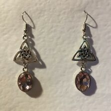 CELTIC KNOT DARK SILVER PLATED TRI EARRINGS , FACETED CLEAR GLASS CRYSTAL OVAL