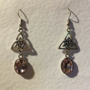 CELTIC KNOT DARK SILVER PLATED TRI EARRINGS , FACETED PINK GLASS CRYSTAL OVAL