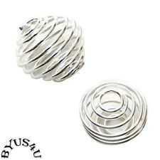 BEAD CAGE LANTERN 15mm SPIRAL LINK CONNECTOR CHARM SILVER PLATED 15pc