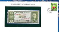 Banknotes of All Nations Bolivia  P-154 10 Pesos 1962 UNC Serie T2 Paz & Prado