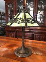 "Antique Bradley & Hubbard B&H Green Slag Glass Lamp Silhouette Shade, 20"" Tall"