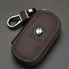 Coffee Genuine Leather Car Remote Key Chain Holder Case Bag Fit For BMW