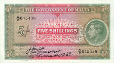 Malta P-12 5 shillings 1939 pressed XF
