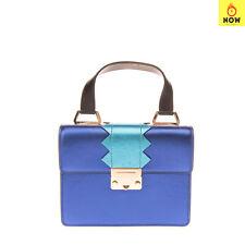 RRP €445 EMPORIO ARMANI Leather Satchel Bag Metallic Top Handle Push Lock Flap