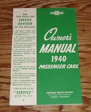 1940 Chevrolet Passenger Car Owners Operators Manual 40 Chevy