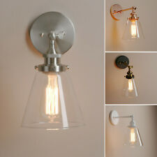 RETRO EDISON INDUSTRIAL CONE GLASS SCONCE FILAMENT BEDROOM BAR WALL LIGHTING UK