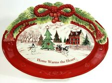 "Fitz & Floyd Cookie Platter 2011 Home Warms The Heart 13.5"" x 10"" Iob"