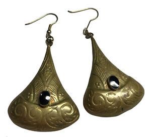 brass onyx dangle earrings