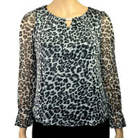 EX.DOROTHY PERKINGS GREY LEOPARD PRINT SHIMMER TOP BLOUSE Sizes 6 to 22