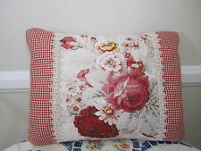 Waverly Red Norfolk Rose French Country Toile Accent Pillow Shabby Chic Floral