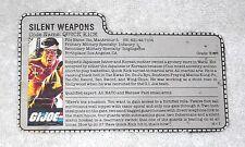 1985 Quick Kick (GREY card) - GI Joe file card (vintage)